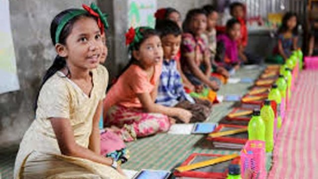 Free school set up for slum children in Rajshahi